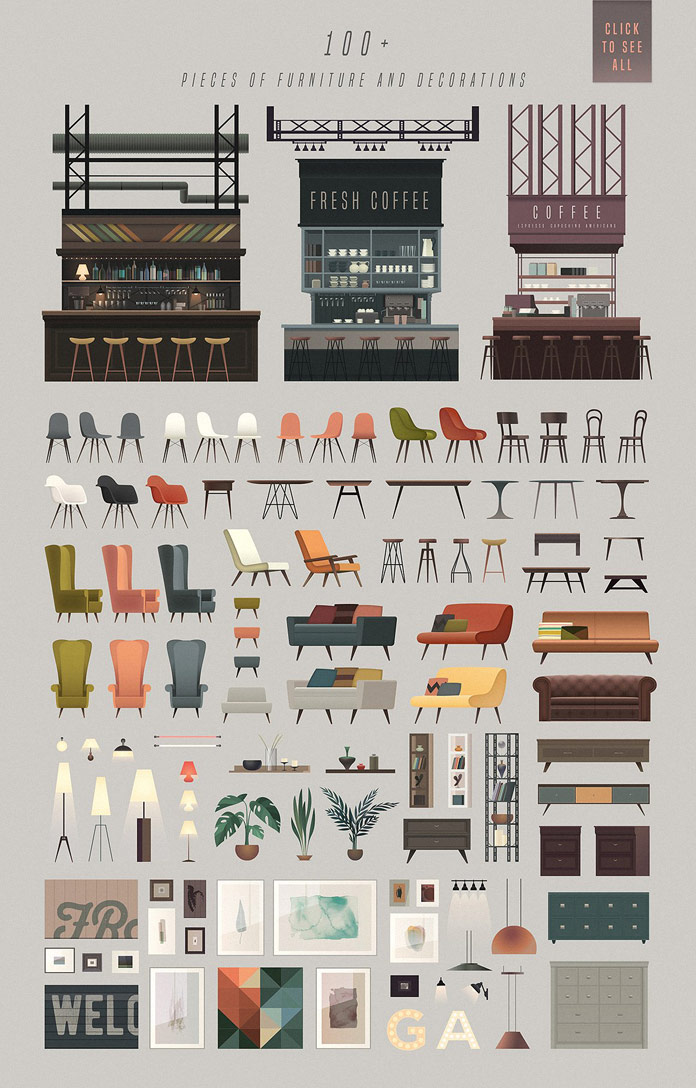 Over 100 furniture and decoration objects.
