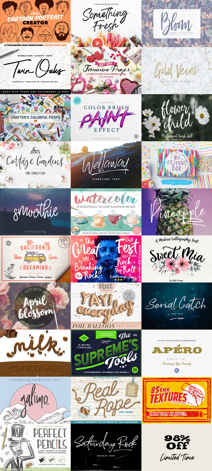 Pixelo's Handcrafted Design Toolkit - Fonts and Graphics
