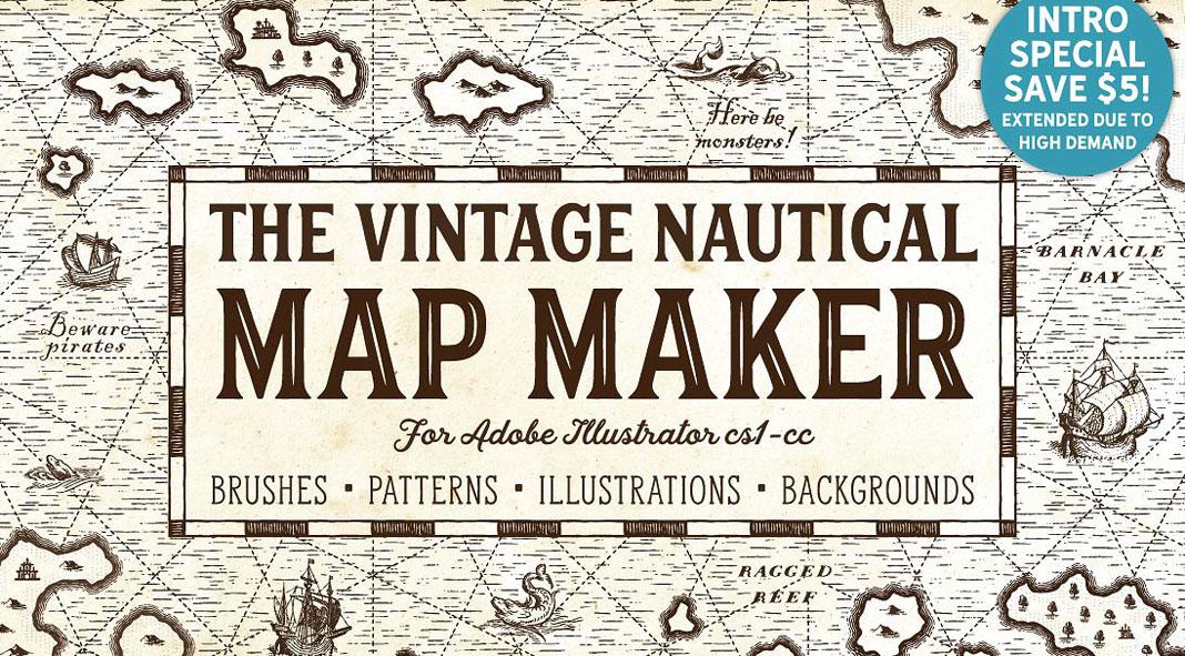 Vintage Nautical Map Templates
