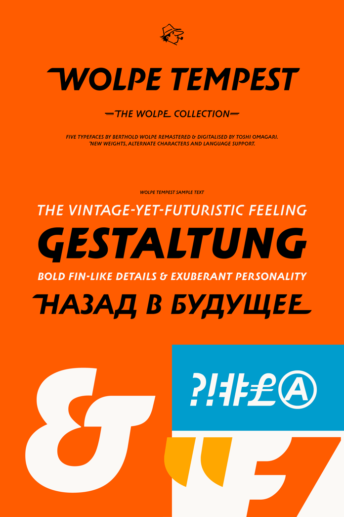 Wolpe Tempest display fonts from Monotype.