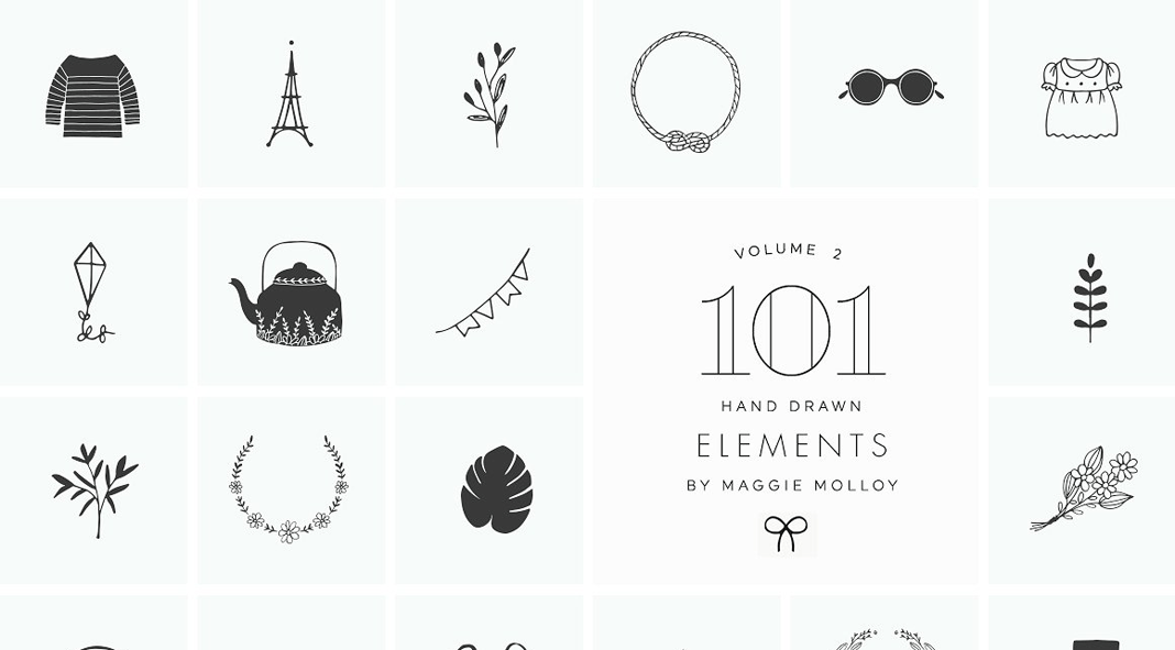 101 Hand Drawn Logo Elements as EPS and PSD files.