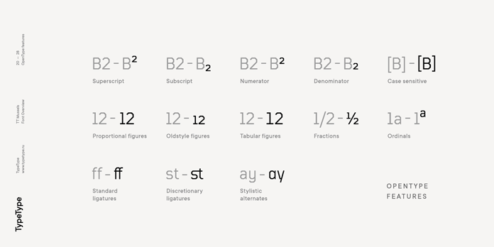 OpenType features.
