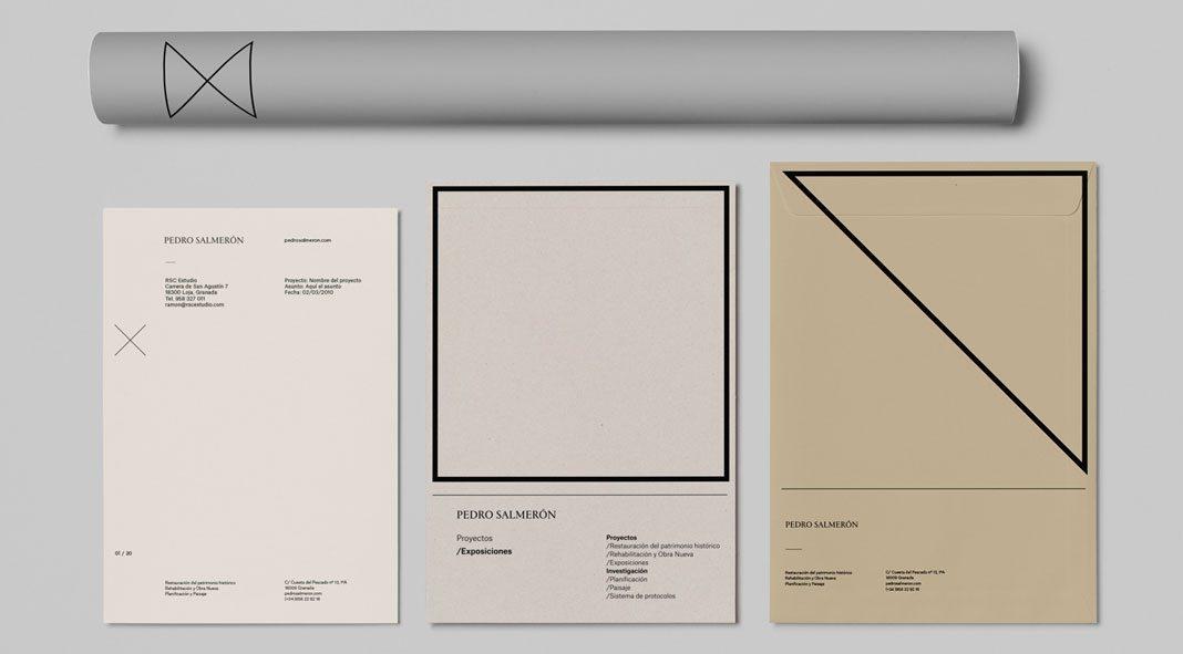 Brand development by Buenaventura estudio for architect Pedro Salmerón.