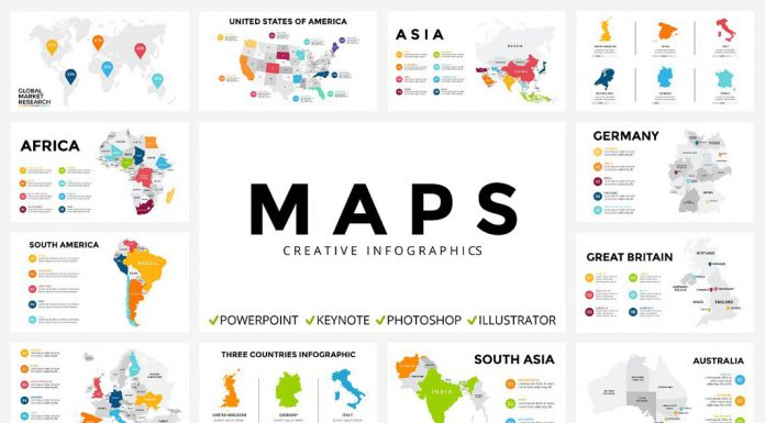 Infographic maps in PPT, PPTX, KEY, PSD, EPS, AI and JPEG files.
