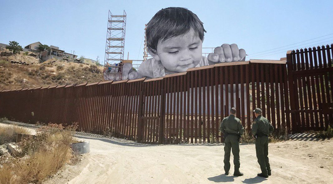 Installation on the border between Mexico and the US created by French artist JR.