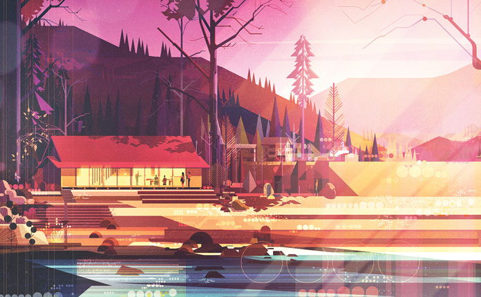 James Gilleard Illustrations, A lovely home in the woods.