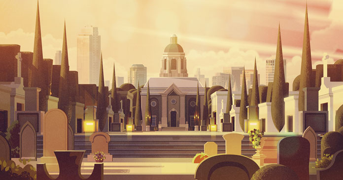 James Gilleard Illustrations, Cemetery in front of the city.