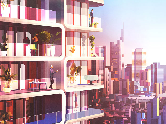 James Gilleard Illustrations, Modern architecture in an urban environment
