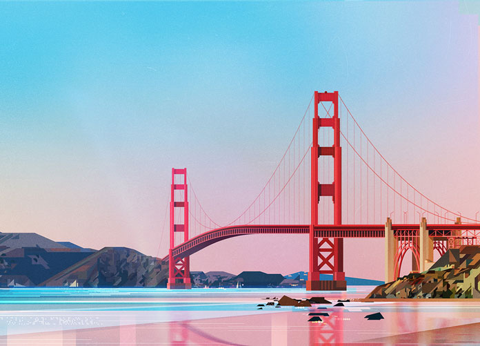 James Gilleard Illustrations, The Golden Gate Bridge in San Francisco