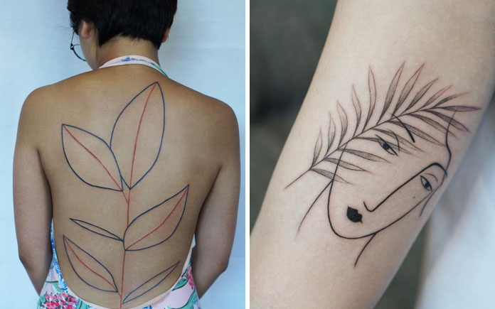Jessica Chen tattoos, large tattoo on the complete back and a small artwork on the arm.