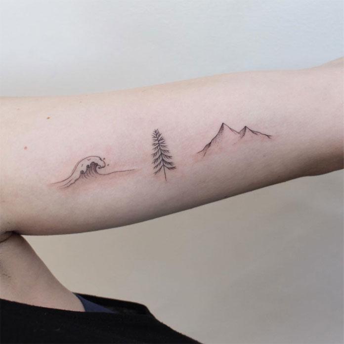 Jessica Chen tattoos, minimal nature.