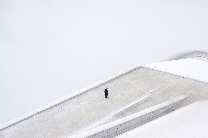 On His Own – photo series by Pawel Franik, foggy, cold winter days
