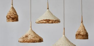 Weathered interior design created by Sebastian Cox and Ninela Ivanova using mushroom mycelium.