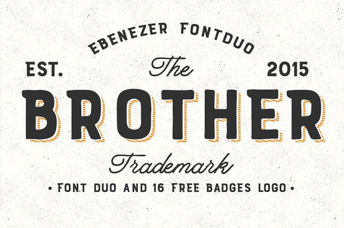 Brother font duo plus 16 badges and logos.