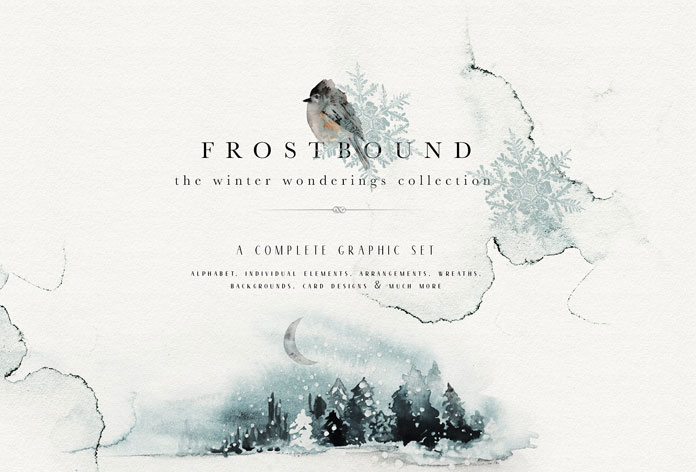 Frostbound, a magical winter collection of watercolor graphics by Isabelle Salem of Opia Designs.