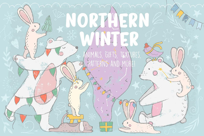 Northern Winter – lovely doodles of animals, gifts, textures, patterns.