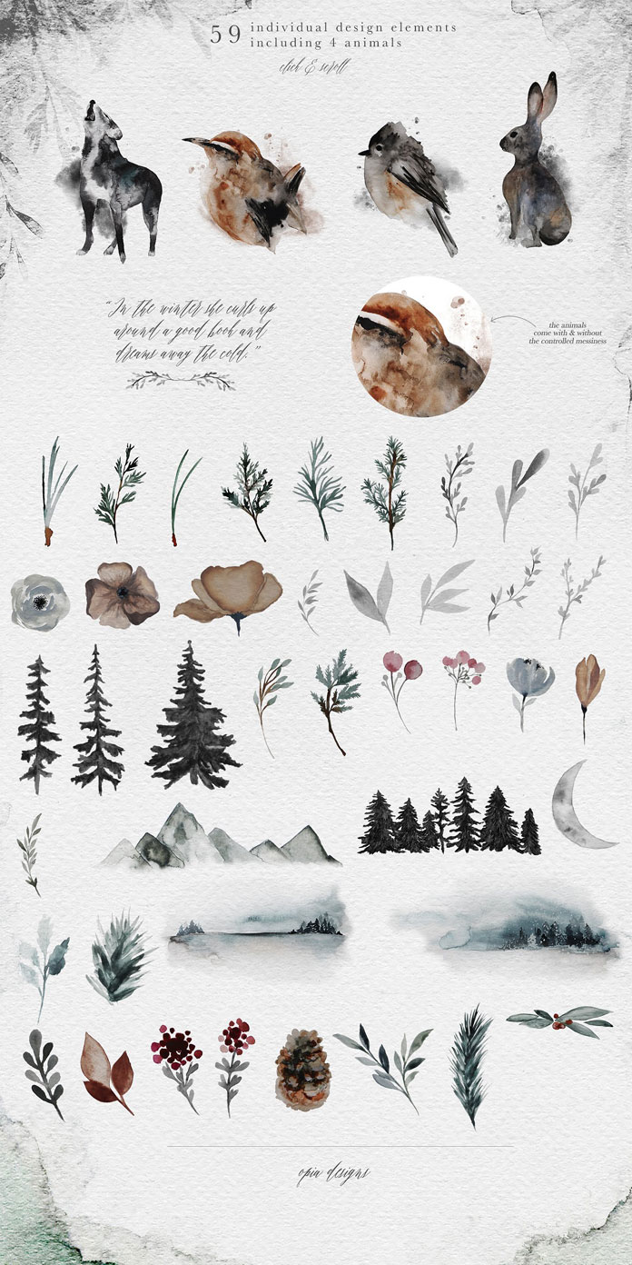 59 individual design elements including 4 animals and lots of winter themed templates.