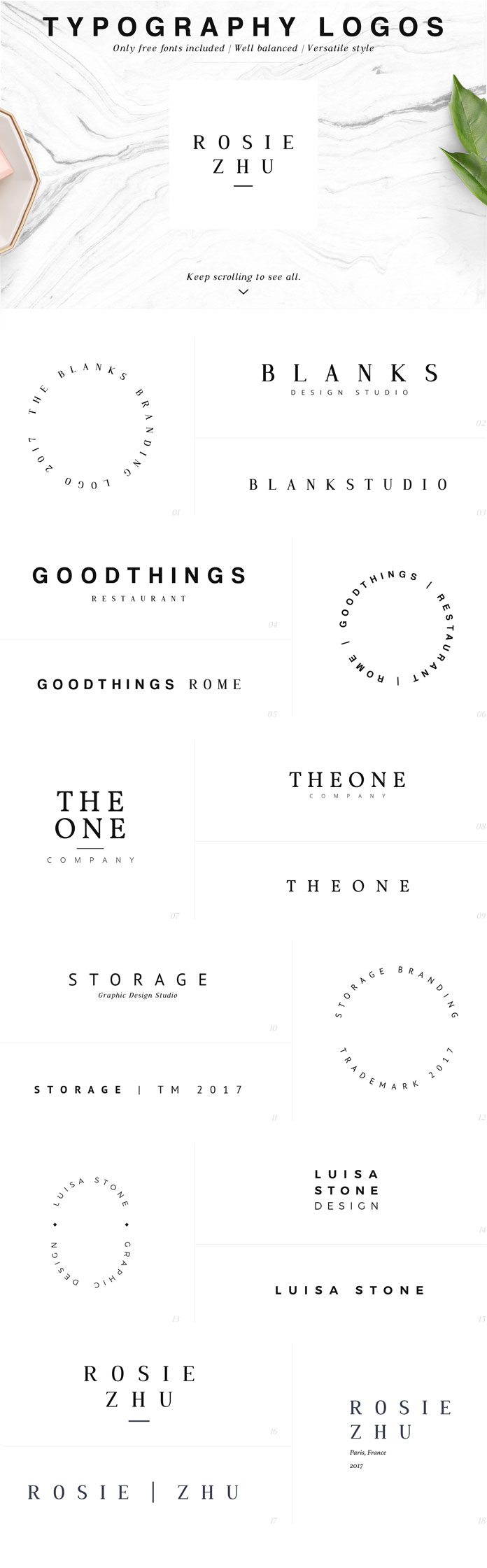 Typography logos.
