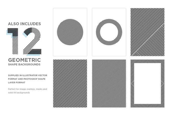 12 geometric shape backgrounds.