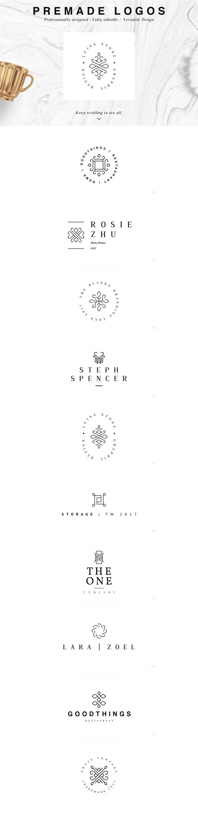 Pre-made logos.