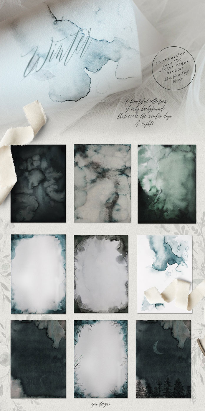 Lots of dreamy watercolor backgrounds and textures.