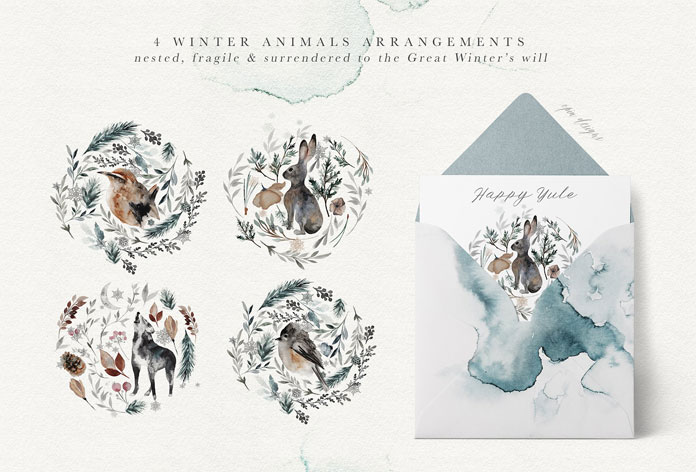4 winter animal arrangements.