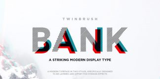 Bank – modern, layered display typeface.