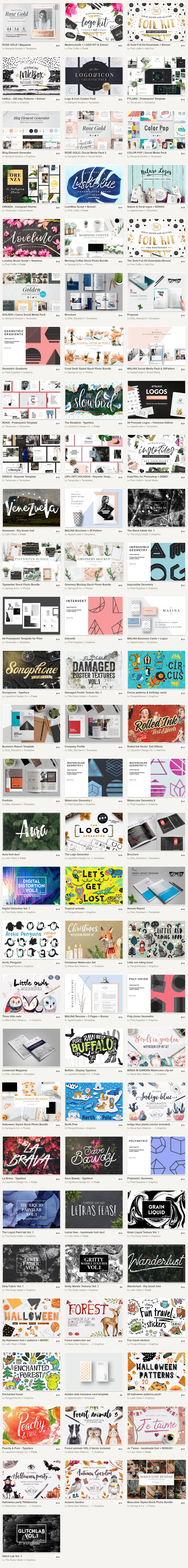 Big bundle of 88 incredible design products from Creative Market.