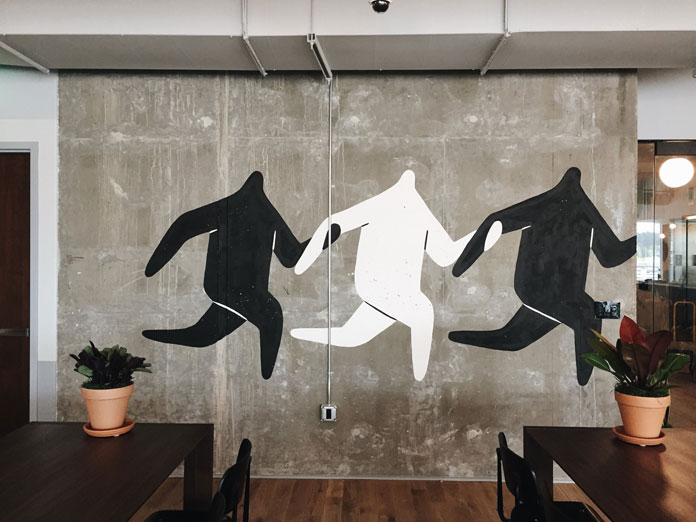 Mural for a lounge space at WeWork Lincoln Square, Bellevue.