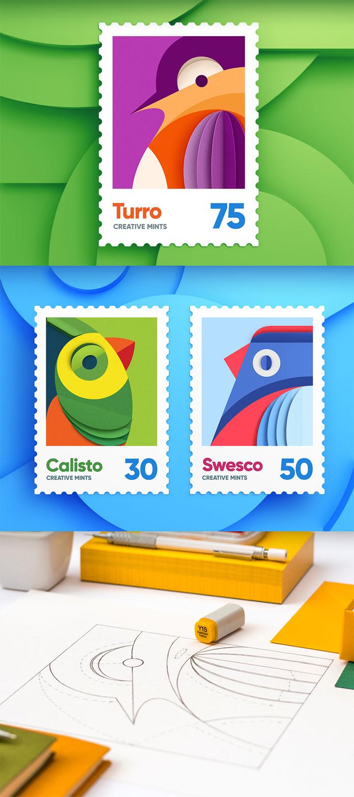 Bird stamp illustrations.