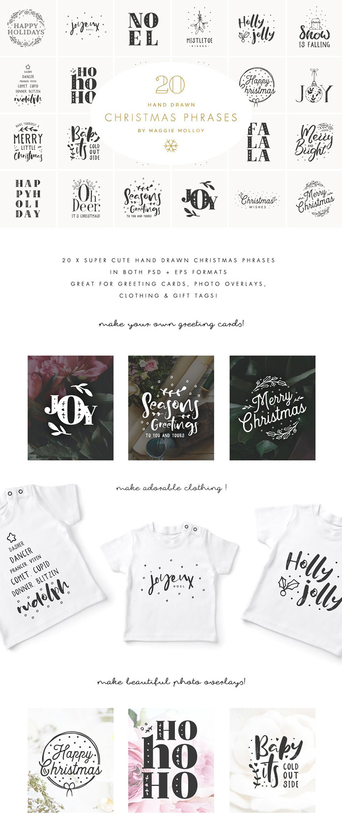 Hand-drawn Christmas graphics as EPS and PSD files.
