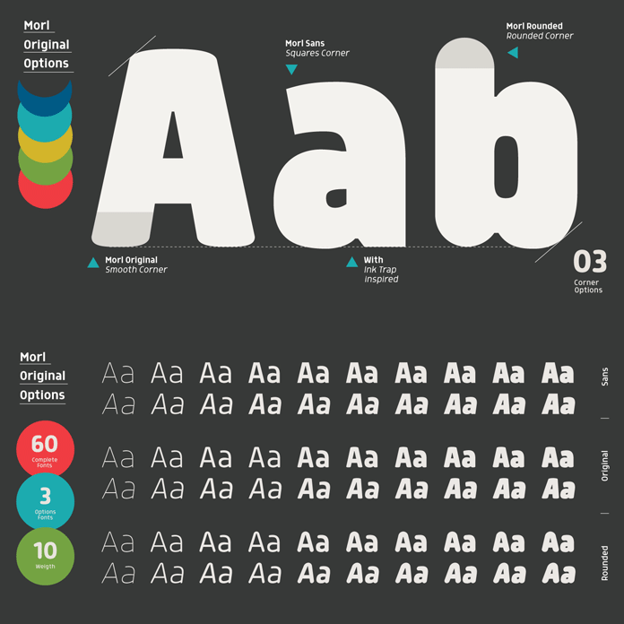 Morl, a display font family with lots of options.