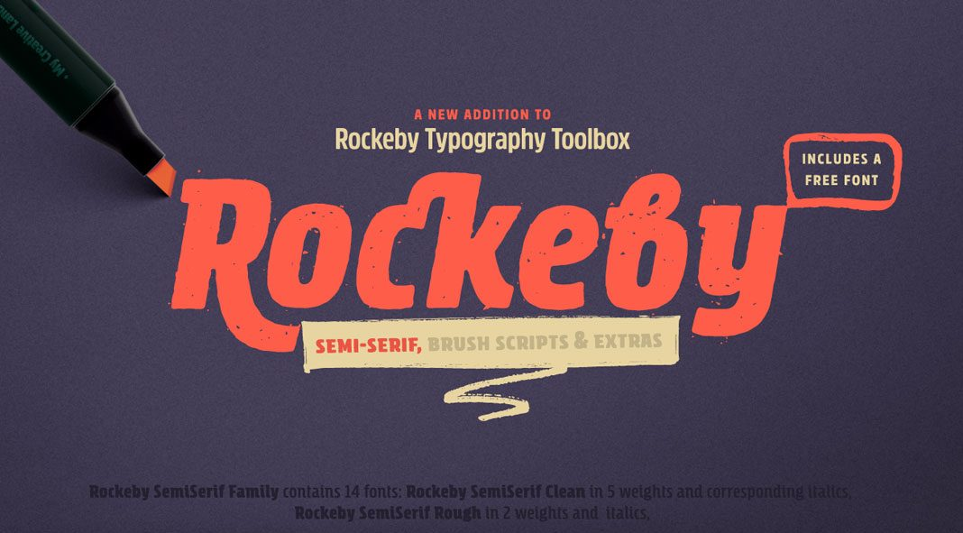 Rockeby Semi-Serif -brush script font family.