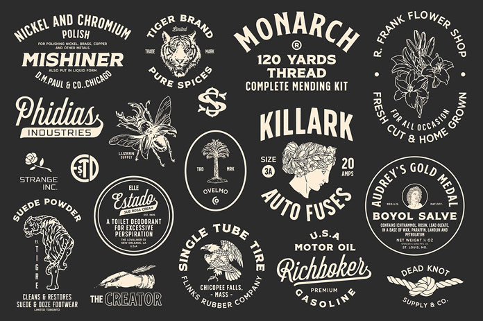 Create vintage inspired logos, badges, and signage.