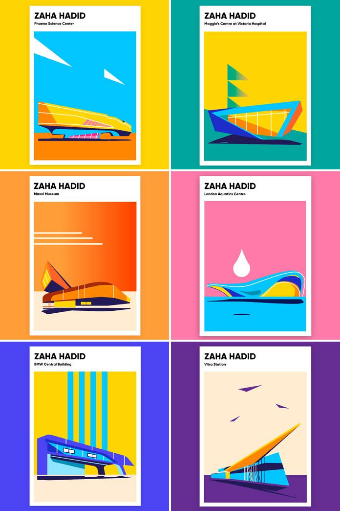 Zaha Hadid buildings poster series by Anastasia Bakusheva.