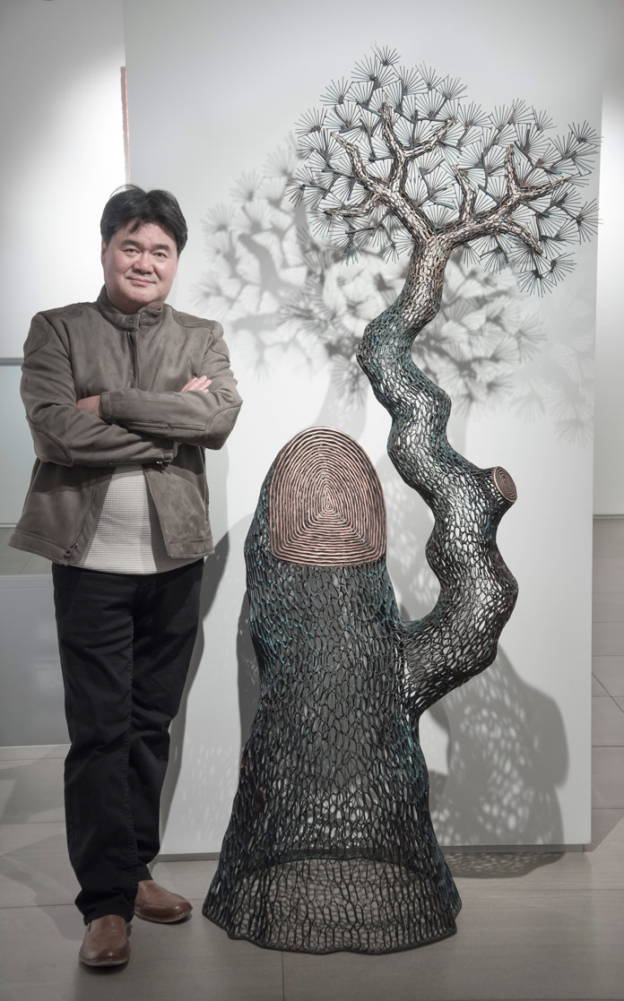 Lee Gil Rae's Pine Tree presents a simulation of nature comprised solely from copper.