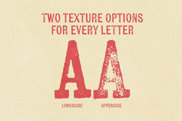 Two texture options for every letter.