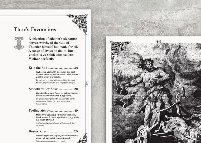 Mjølner Bar, Sydney - menu design.