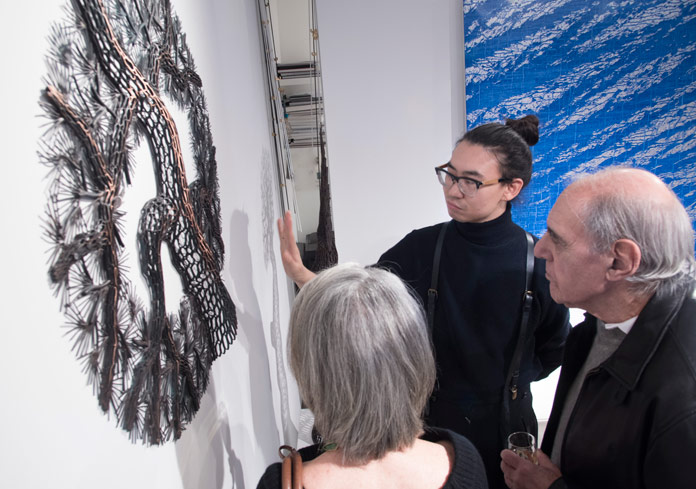 The exhibition explores a cultural exchange through nature-inspired sculptures and paintings.
