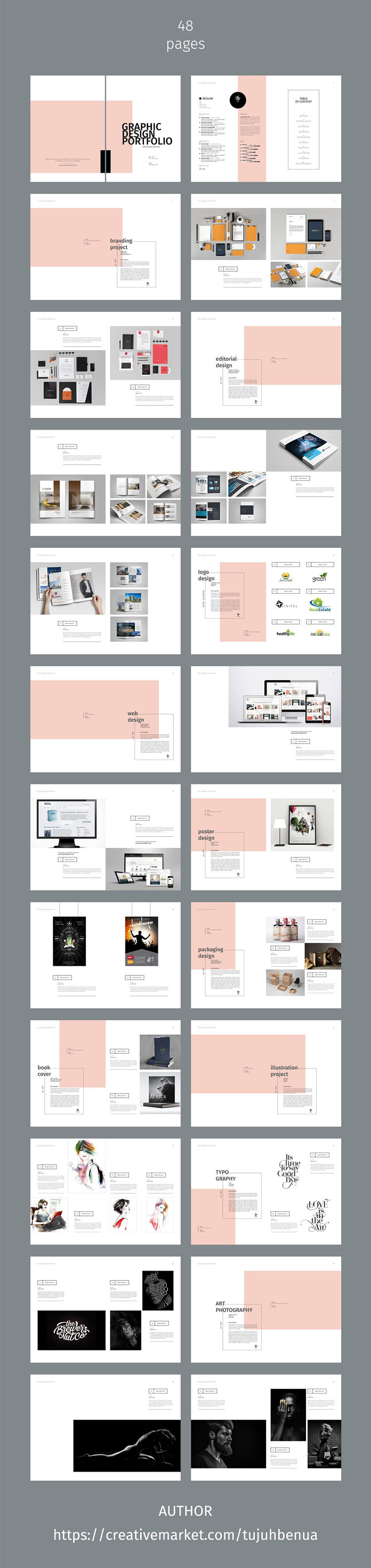 Graphic design portfolio template with 48 pages.