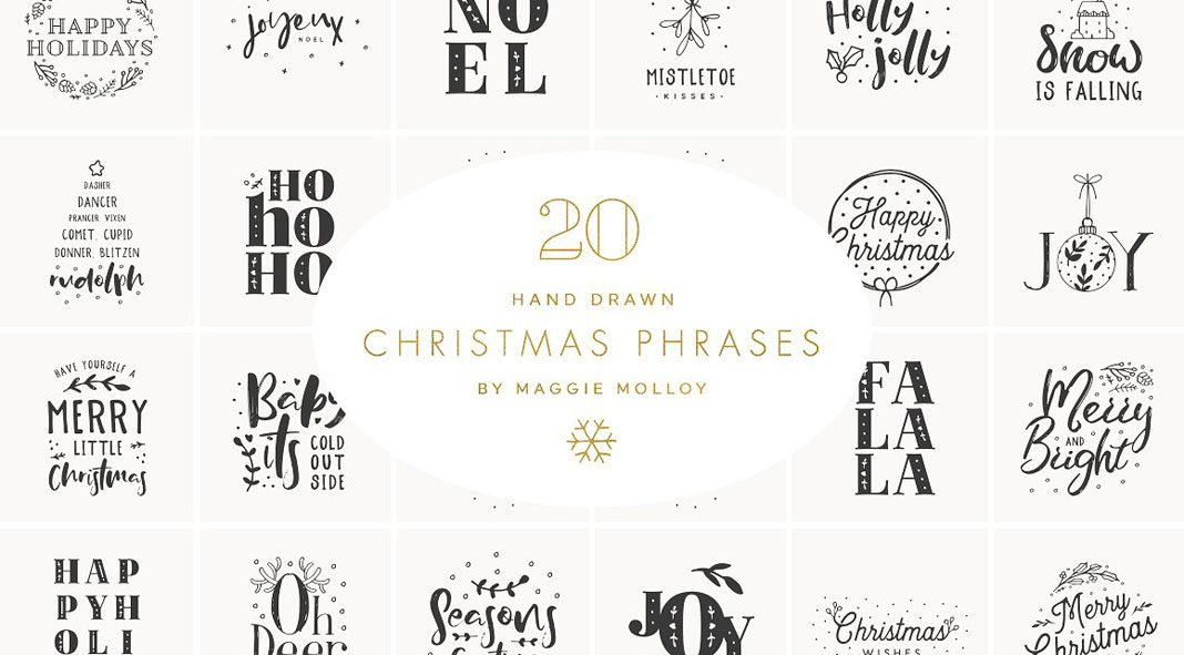 hand drawn christmas graphics as eps and psd files