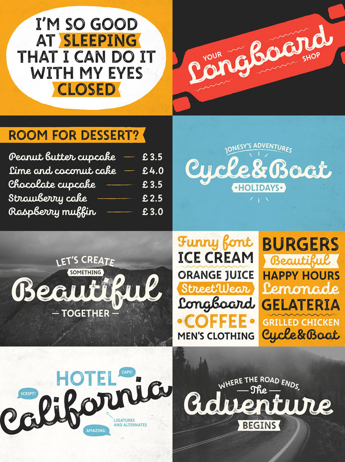 New Jonesy Latin – font family by type designer and lettering artist Ksenia Belobrova.
