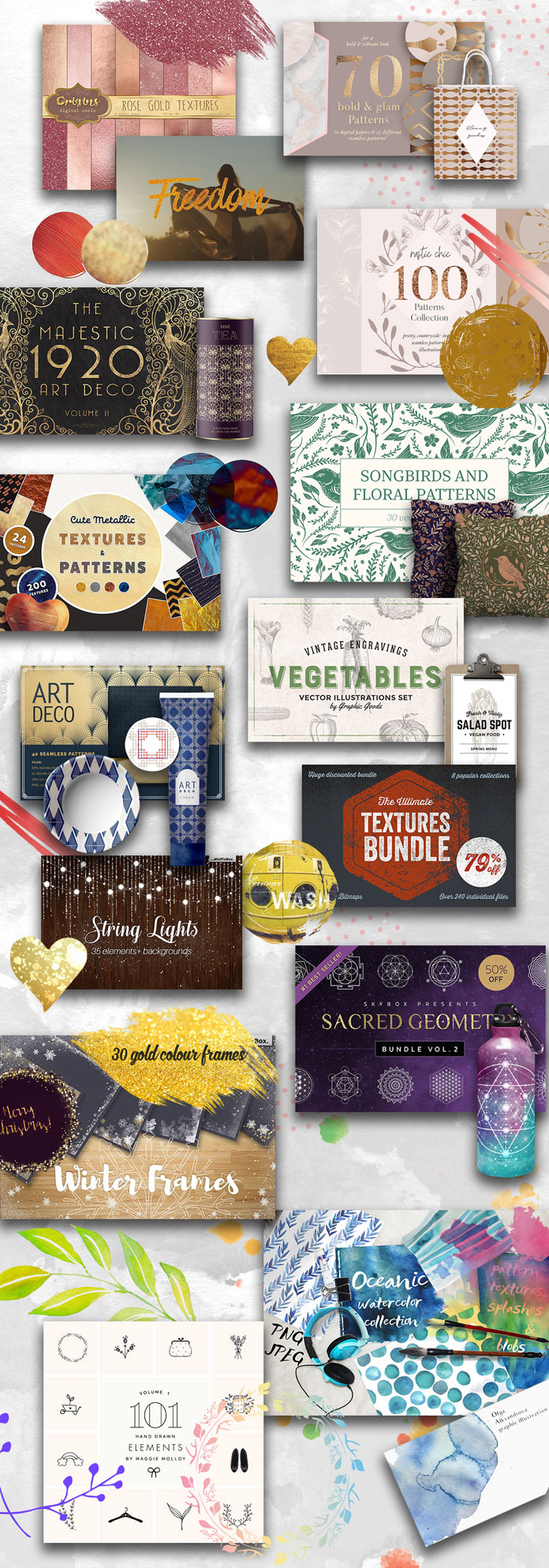 November Design Bundle from Pixelo with 3038 graphic elements plus commercial license.