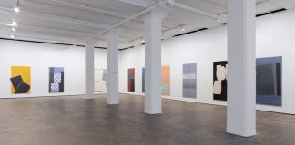 Installation view of Sam Moyer: Wide Wake at Sean Kelly gallery in New York City, Image by JSP Art Photography