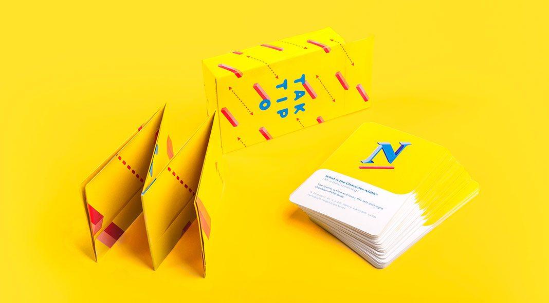 TAKTIPO, a typographic card game by Monika Rudics, Balazs Szemmelroth, and Aniko Mezo.