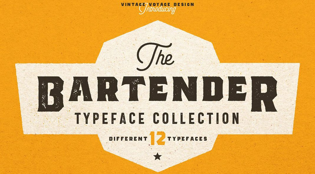 The Bartender Collection - 12 vintage fonts from Vintage Voyage Design Co.