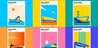 Zaha Hadid poster illustrations by Anastasia Bakusheva.