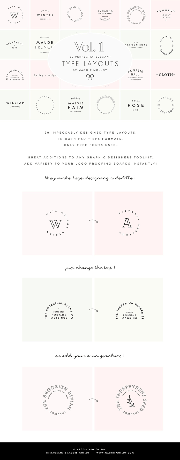 Logotype templates: text-based logos by Maggie Molloy.