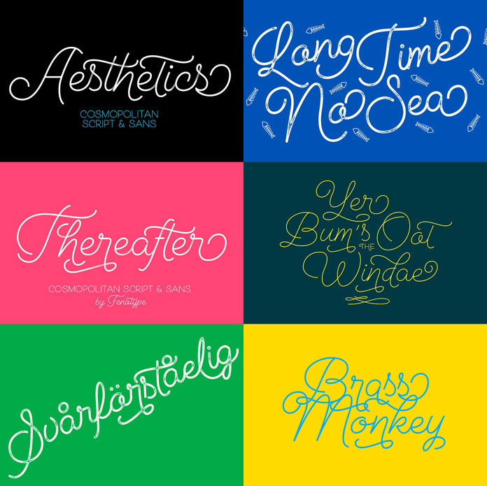 A monoline font family with script and sans versions.