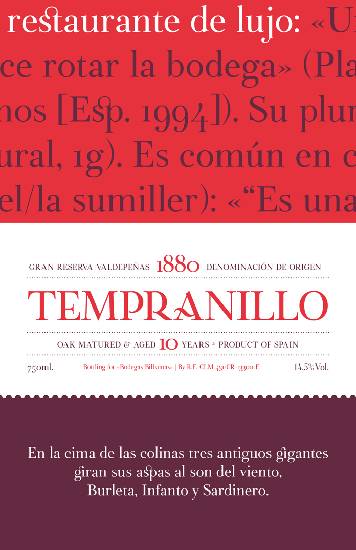 Botera, a classic serif including two styles Regular and Stencil.